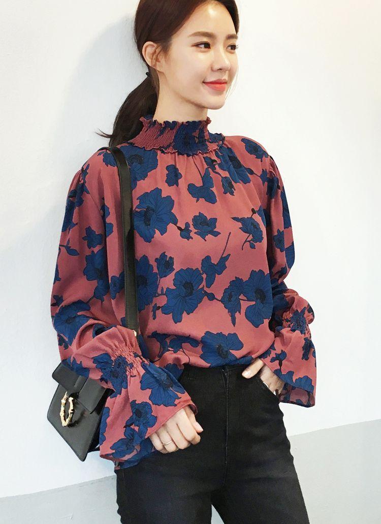 Honey 2018 Sping Summer Women High Street Chiffon Shirts Female V-neck Lantern Sleeve Office Blouse Women Tops Women's Clothing