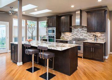 Granite Kitchen Design Ideas, Remodels & Photos With Dark Wood Cabinets