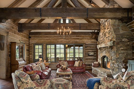roger wade studio interior design photography of rustic handcrafted log home living room toward fireplace and - Log Cabin Living Room
