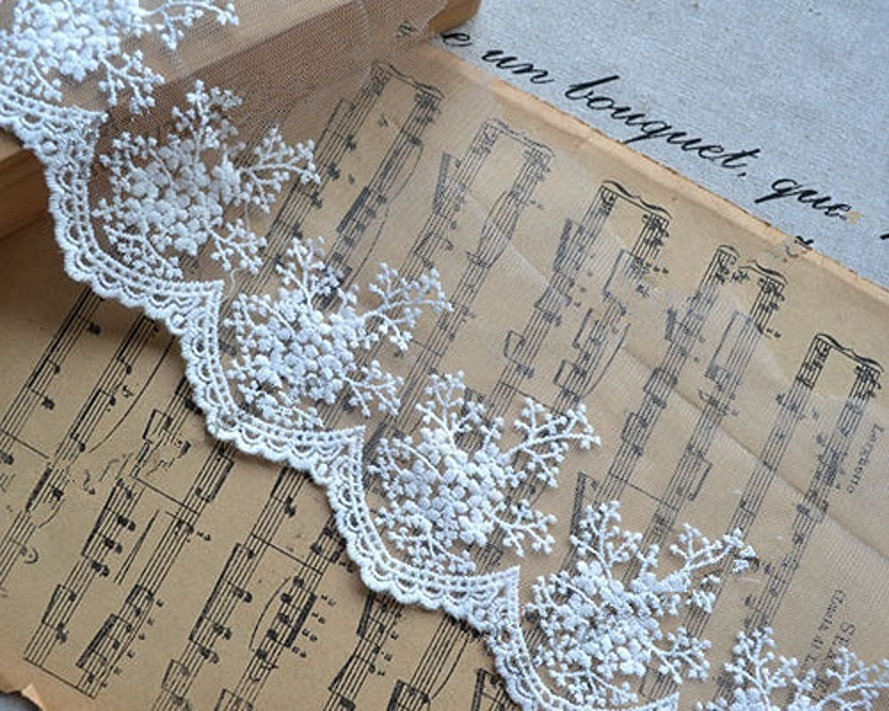 10 yards 3-1/2' white cotton embroidery lace trim floral pattern -