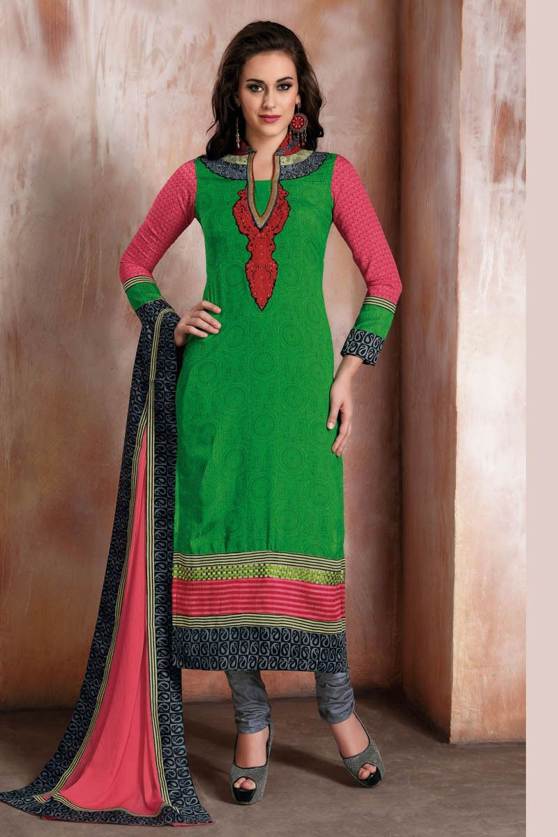 Multi Color Raw Silk Churidar Printed Semi Stitched Dress Material ...