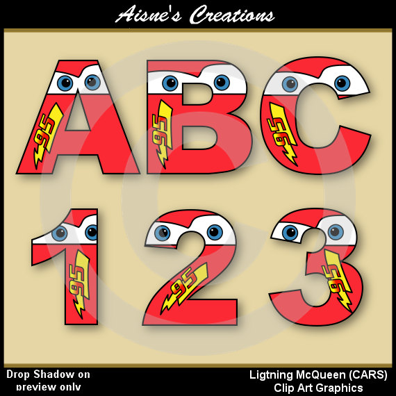 Lightning McQueen (CARS) Alphabet Letters & Numbers Clip Art ...