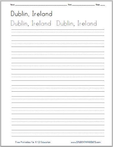 Ireland Handwriting Practice Worksheets - Free to print (PDF files ...