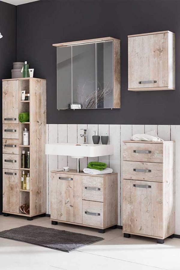 Badezimmer Set Jandos Im Dekor Eiche Grau Mit Led Beleuchtung In 2020 Spiegelschrank Badezimmer Set Spiegelschrank Led