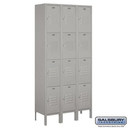 64362gy U 12 Wide Four Tier Standard Metal Locker 3 Wide 6 Feet High 12 Inches Deep Gray Metal Lockers Salsbury Industries Locker Designs