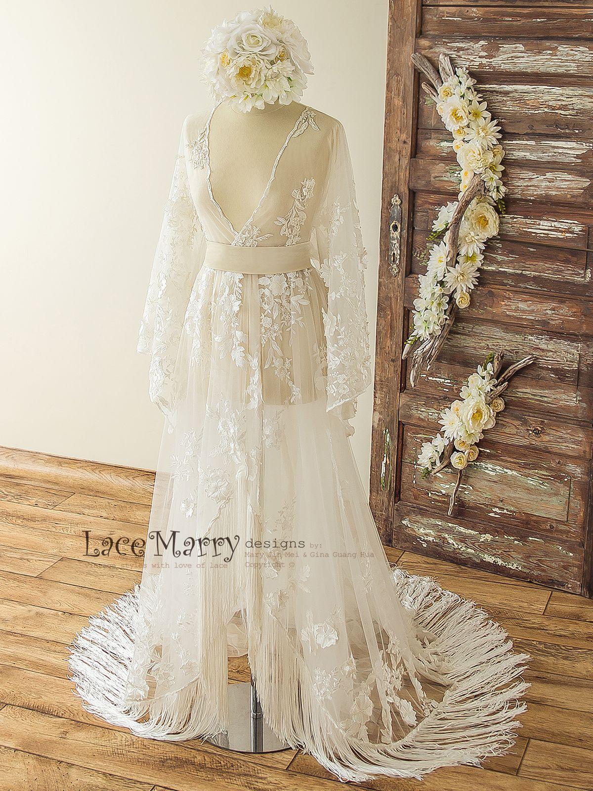 Pin On Bohemian Lace Wedding Dress In Kaftan Style With Kimono Sleeves Lmwd145