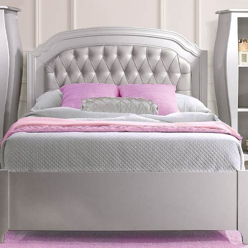 Alexa Double Bed Diamond Tufted Panel Silver Bed Childrens Beds
