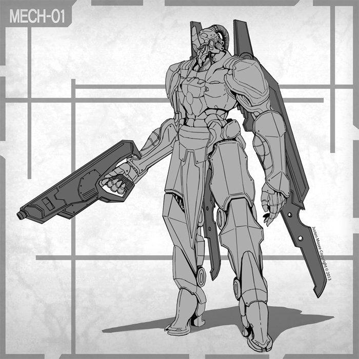 Mech 01, Justen Moore on ArtStation at https://www.artstation.com/artwork/ybQ8K
