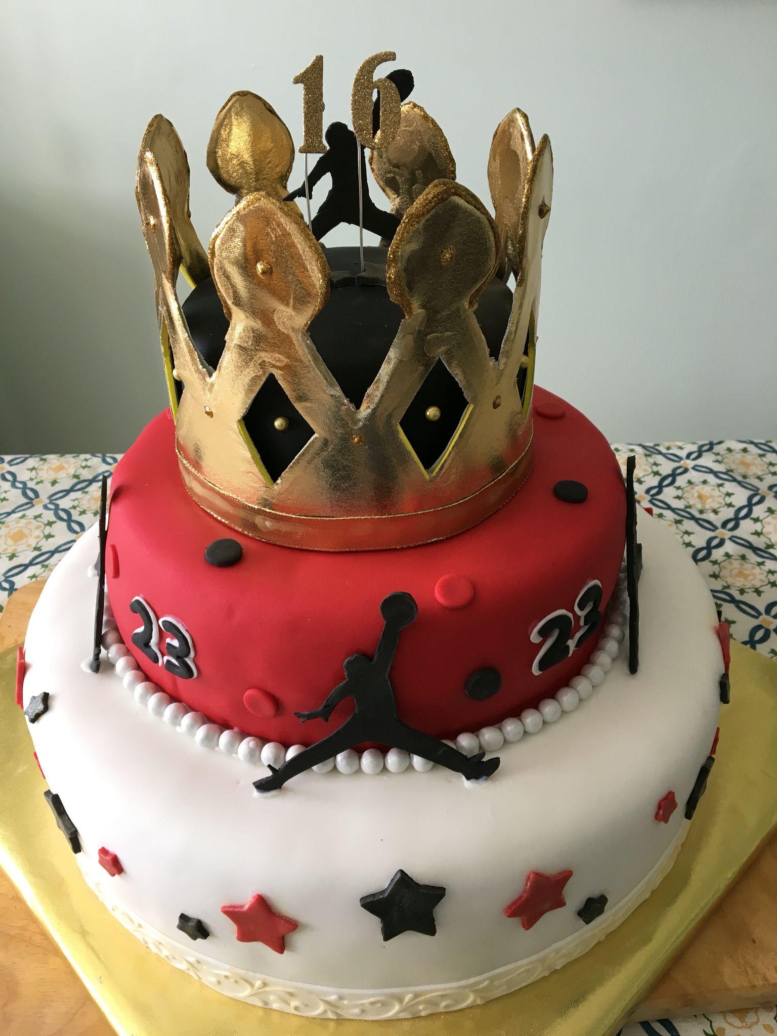 Strange Michael Jordan Themed Crown Cake For 16 Year Old Boy Crown Cake Personalised Birthday Cards Paralily Jamesorg