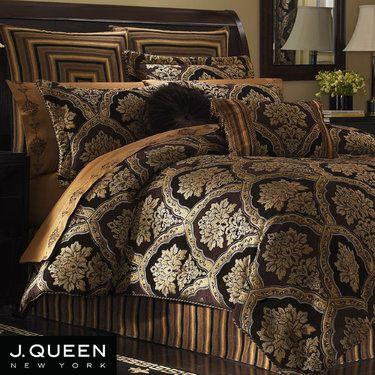 Hanover Damask Bedding Comforter Set Gold And Black - Blue and brown damask comforter