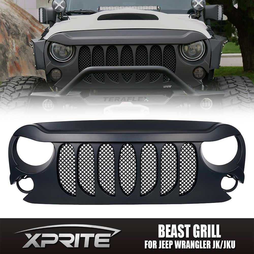 Xprite Beast Grille Grill Matte W Built In Mesh For 07 17 Jeep