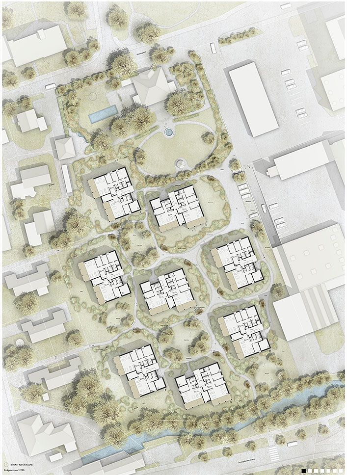 Extr landschaftsarchitekten 1 preis studienauftrag for Residential site plan