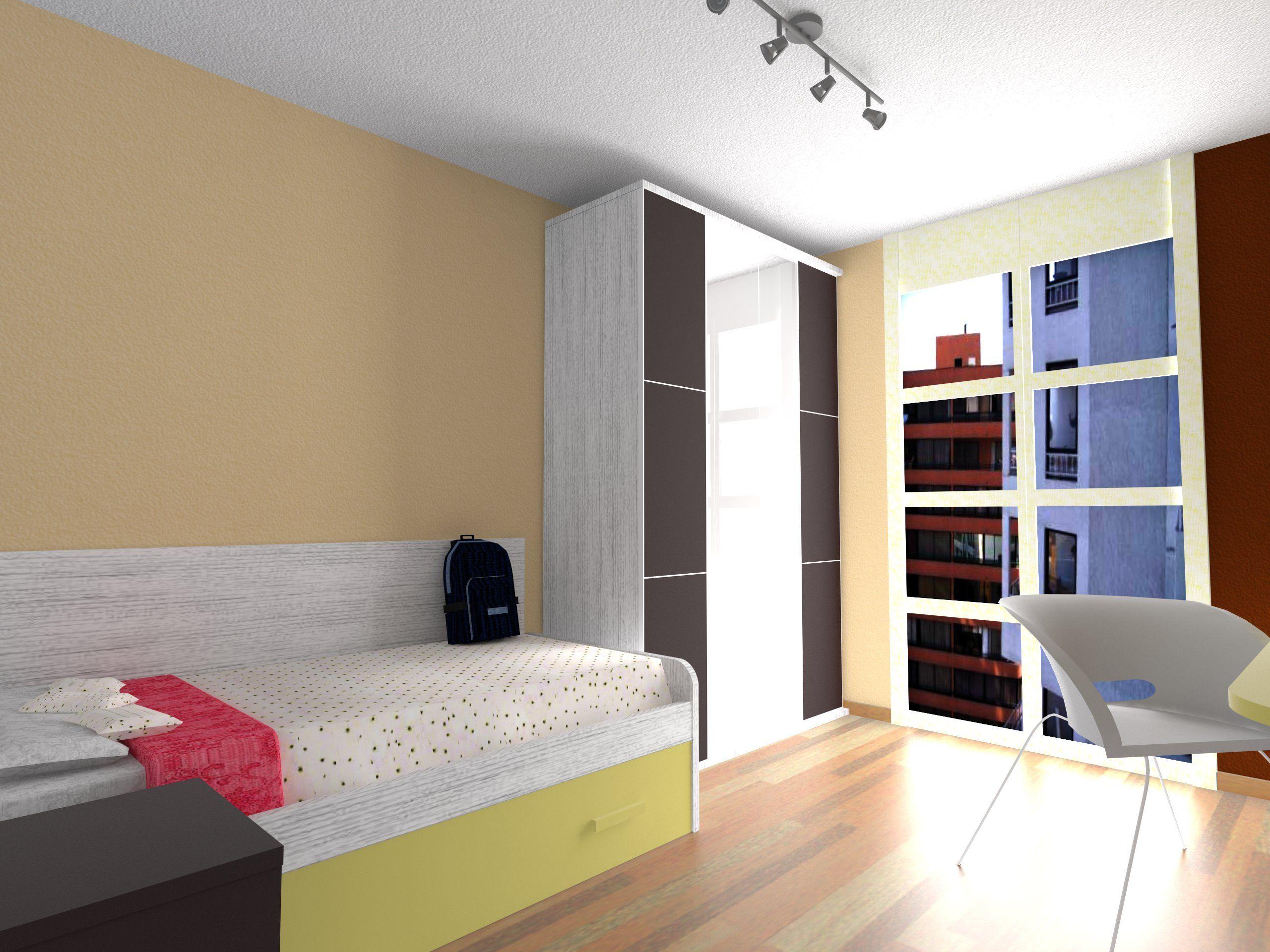 Dise o de habitaci n juvenil en color beig y moka - Color habitacion juvenil ...