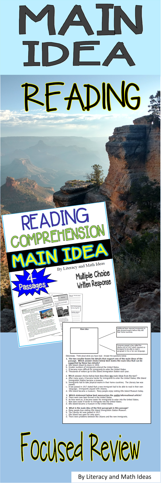 Main Idea Worksheets Main Idea Questions Are Written At Different Complexity Levels For Co This Or That Questions Main Idea Worksheet Common Core Lesson Plans [ 1600 x 533 Pixel ]