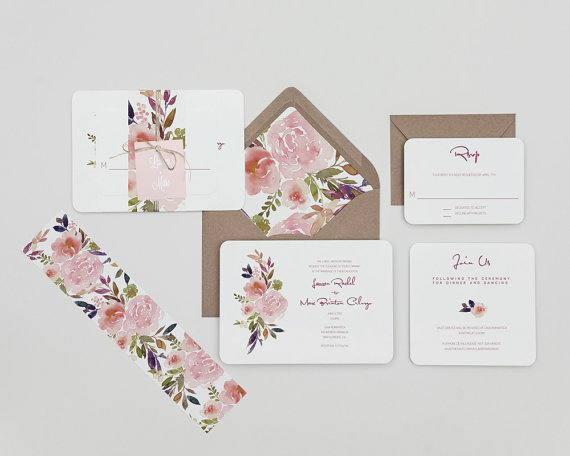 Rustic mauve and blush floral wedding invitations set country a rustic wedding invitation with wonderful dusty lavenders mauves and blush flowers showcases contemporary fonts add an envelope liner tag or upgrade to stopboris Image collections