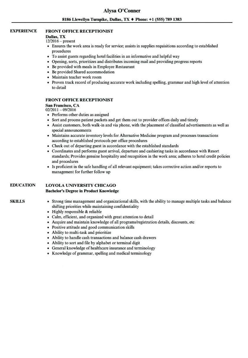 32 Awesome Front Desk Receptionist Resume Sample in 2020