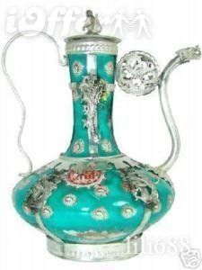 CHINESE TIBET SILVER PORCELAIN CARVED TEAPOT