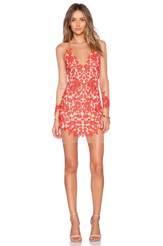 99fe0e3e6ef4e For Love & Lemons Luau Mini Dress in Red & Nude | Wanttttt: to wear ...