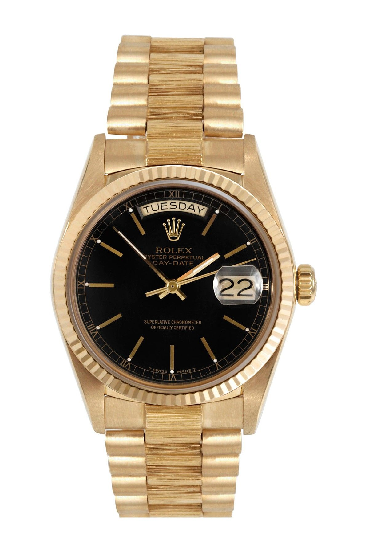 bezel presidential watches watch gold yellow yg previous rolex day next date black diamond dial