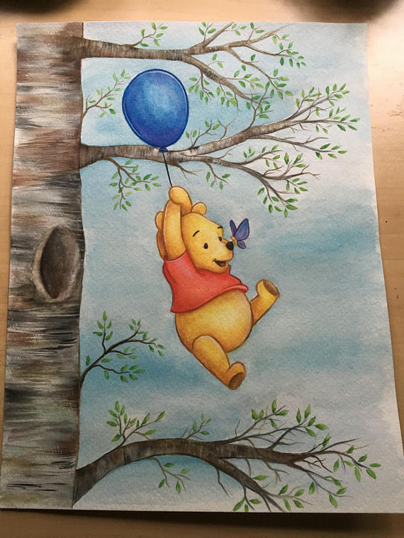 Winnie The Pooh Watercolor Painting - PRINT