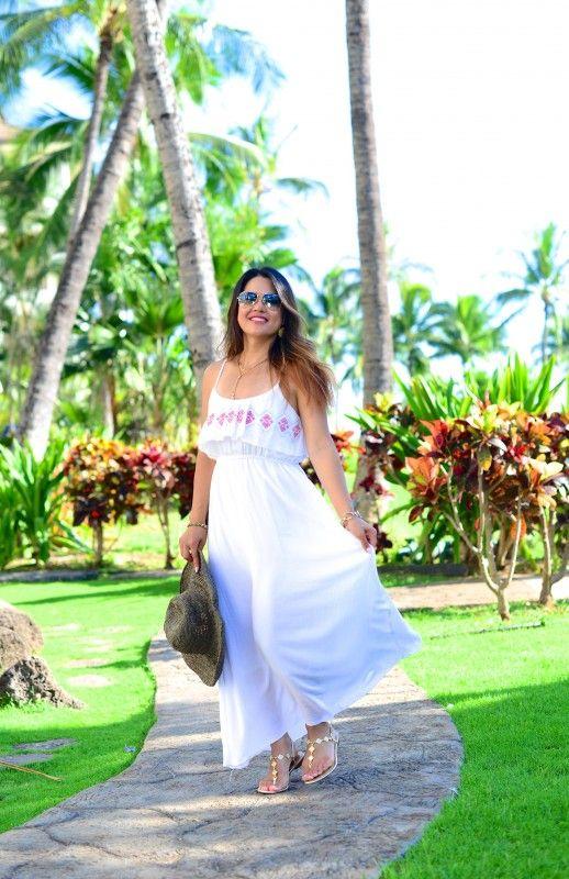 2c04480b2ec6 Summer style white maxi dress thong sandal