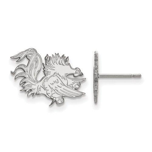 10kw White Gold LogoArt University of South Carolina Small Post Earrings 1W050USO