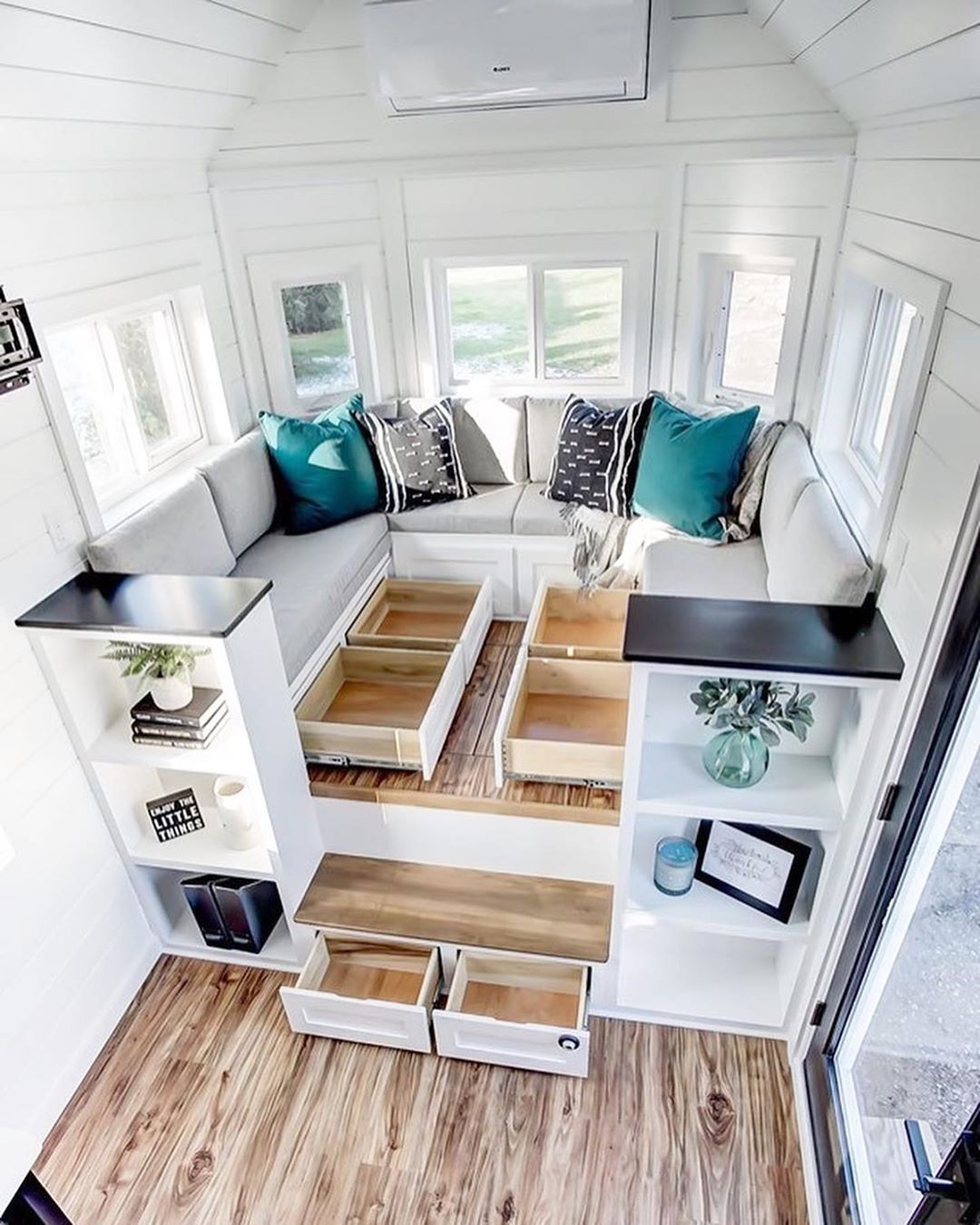 Tiny Homes On Instagram How Awesome Are These Creative Storage Solutions What Do You Think O Tiny House Storage Tiny House Organization Tiny House Interior