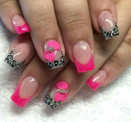 Pink Animal Print Nails Uñas Leopardo Rosa Nails