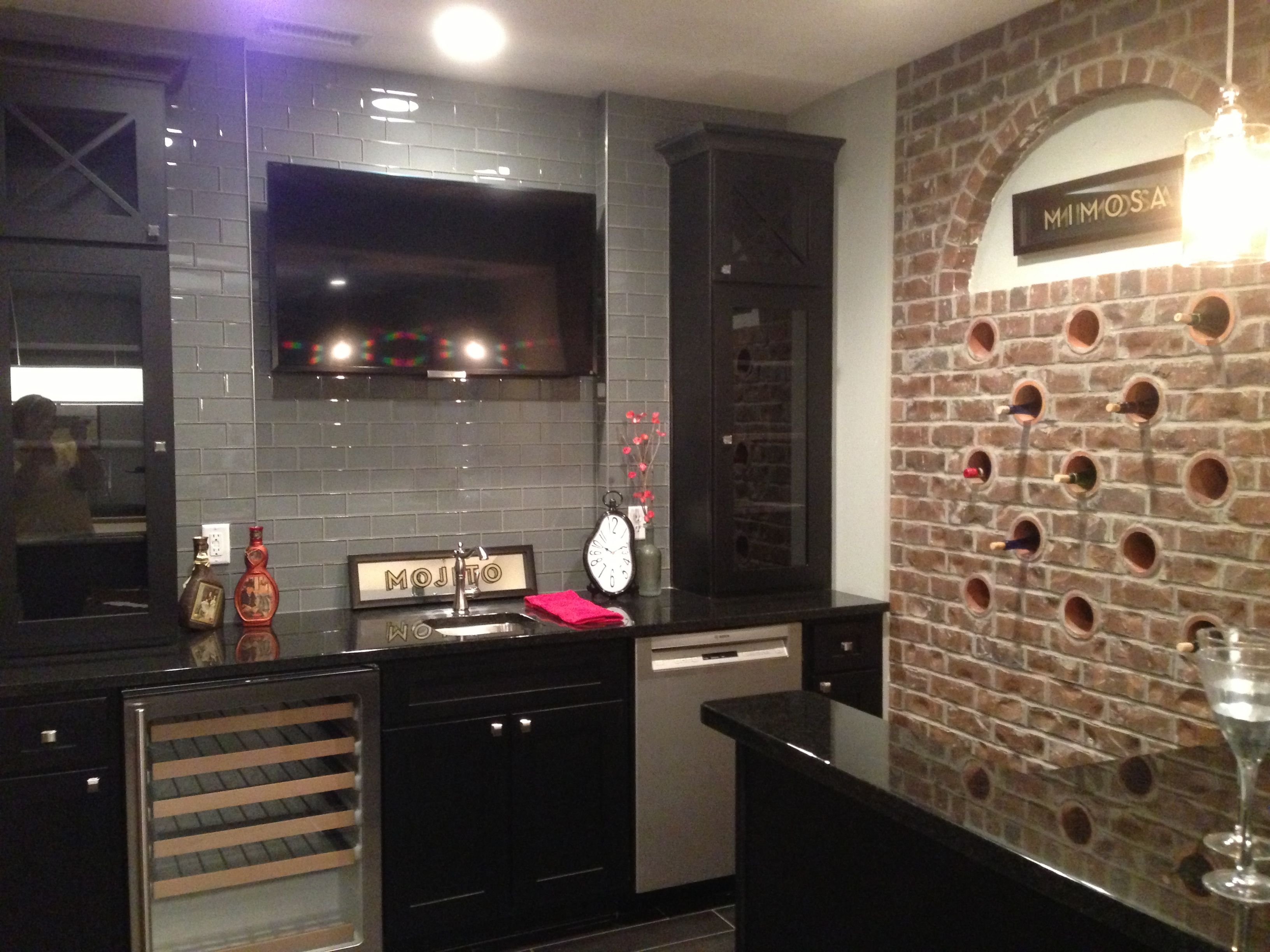 Awesome Basement Wet Bar; Love The Holes In The Brick Wall