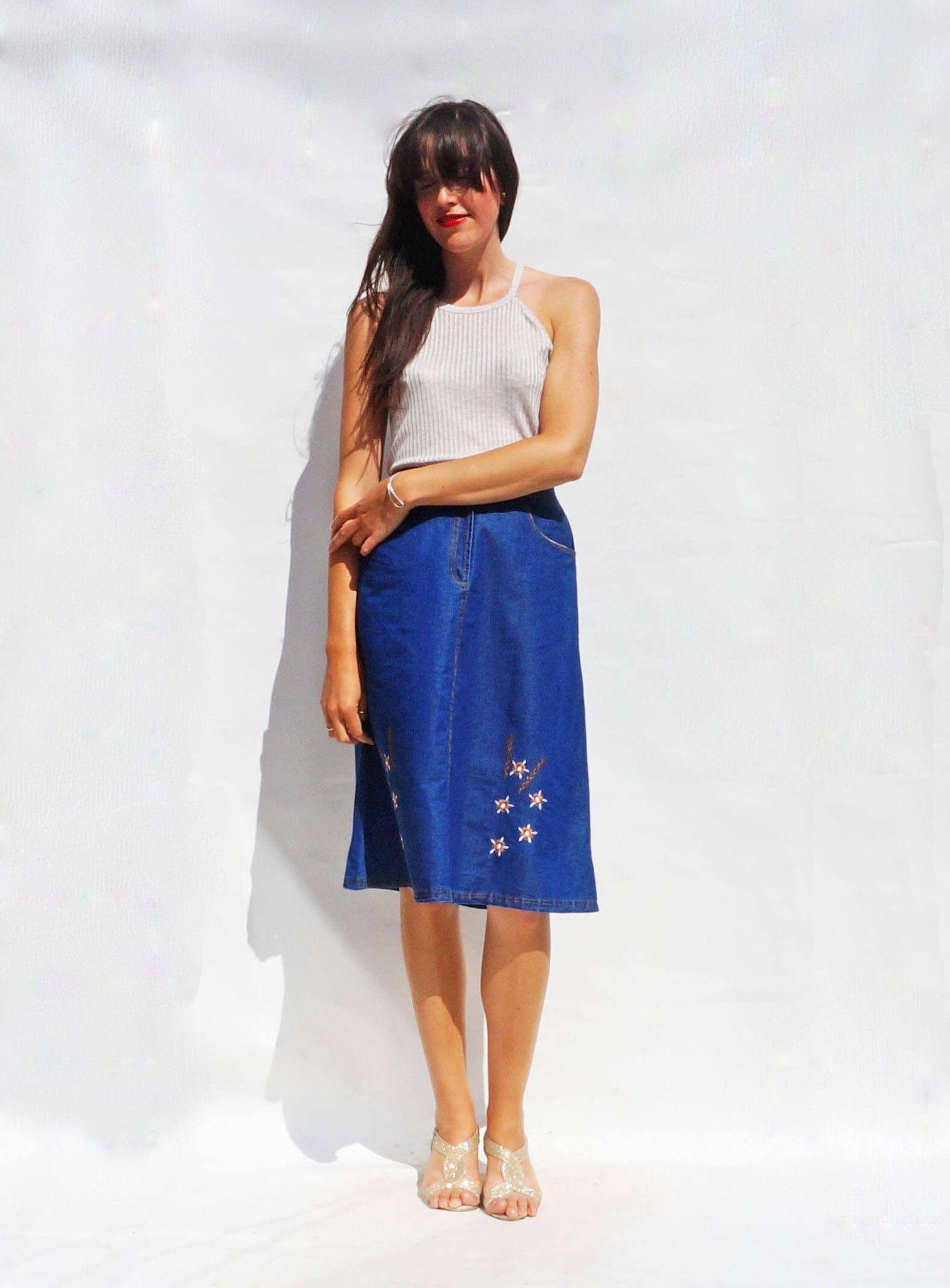 db0512d429204 Boho Denim Skirt
