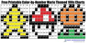 Free Printable Color By Number Mario Themed 100s Charts From Suzy Homeschooler Avengers Coloring Mario Mario Bros
