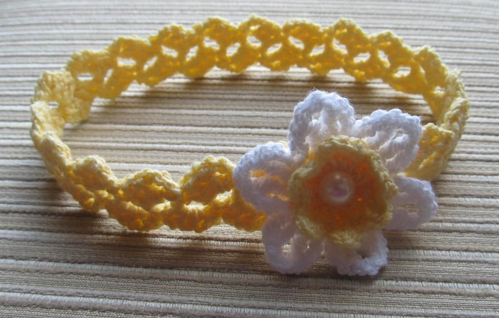 Crochet Headband with a White Daffodil | Daffodils, March and Crochet