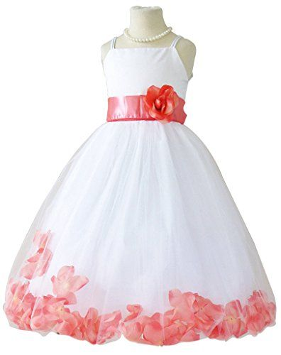 1e7deefab6f Coral Wedding Color Ideas You Don t Want to Overlook. Flower Girl Dress  Rose Petal ...
