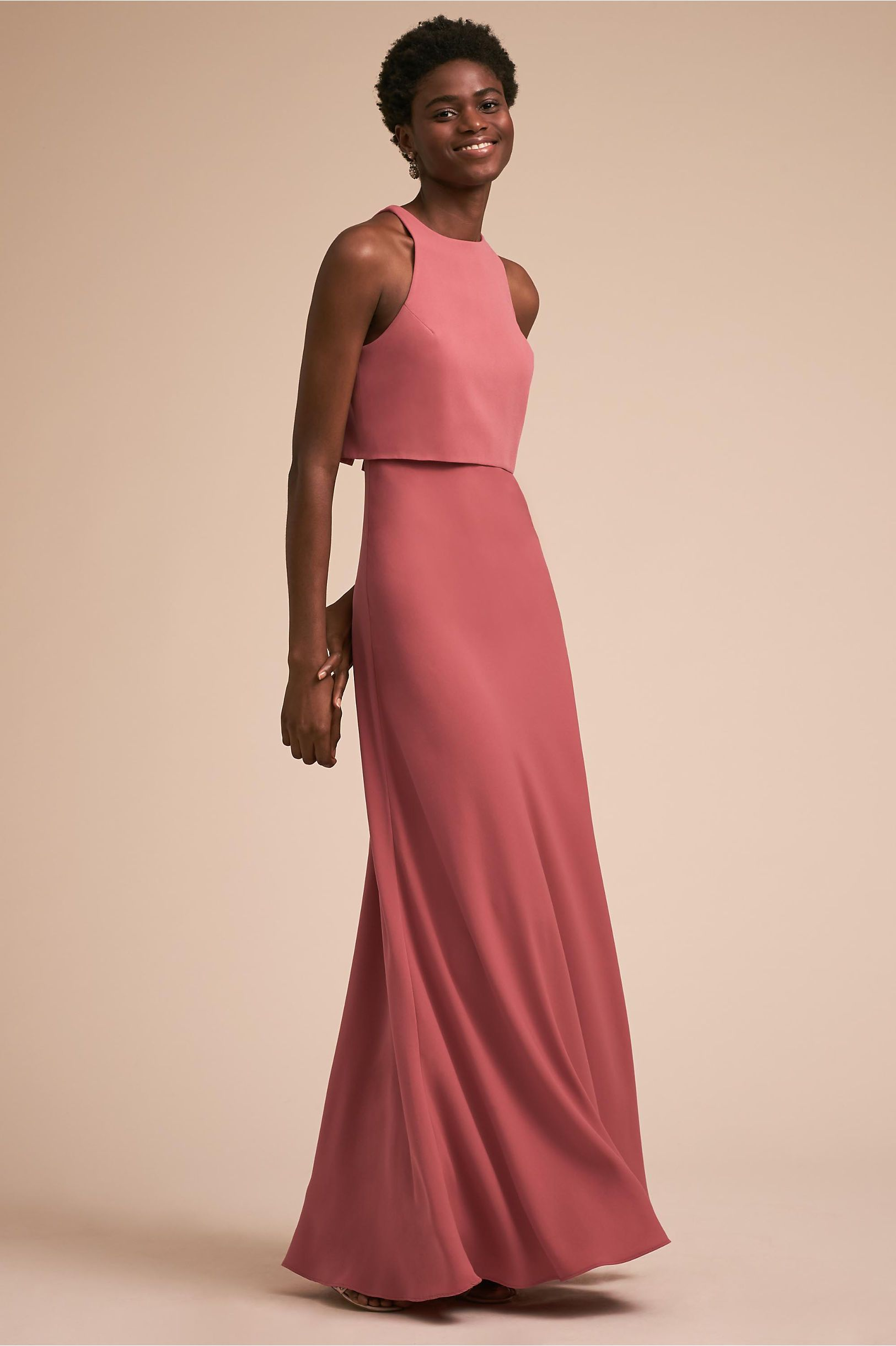 Love this bridesmaid style! | Iva Crepe Maxi Pink Ribbon | Long ...