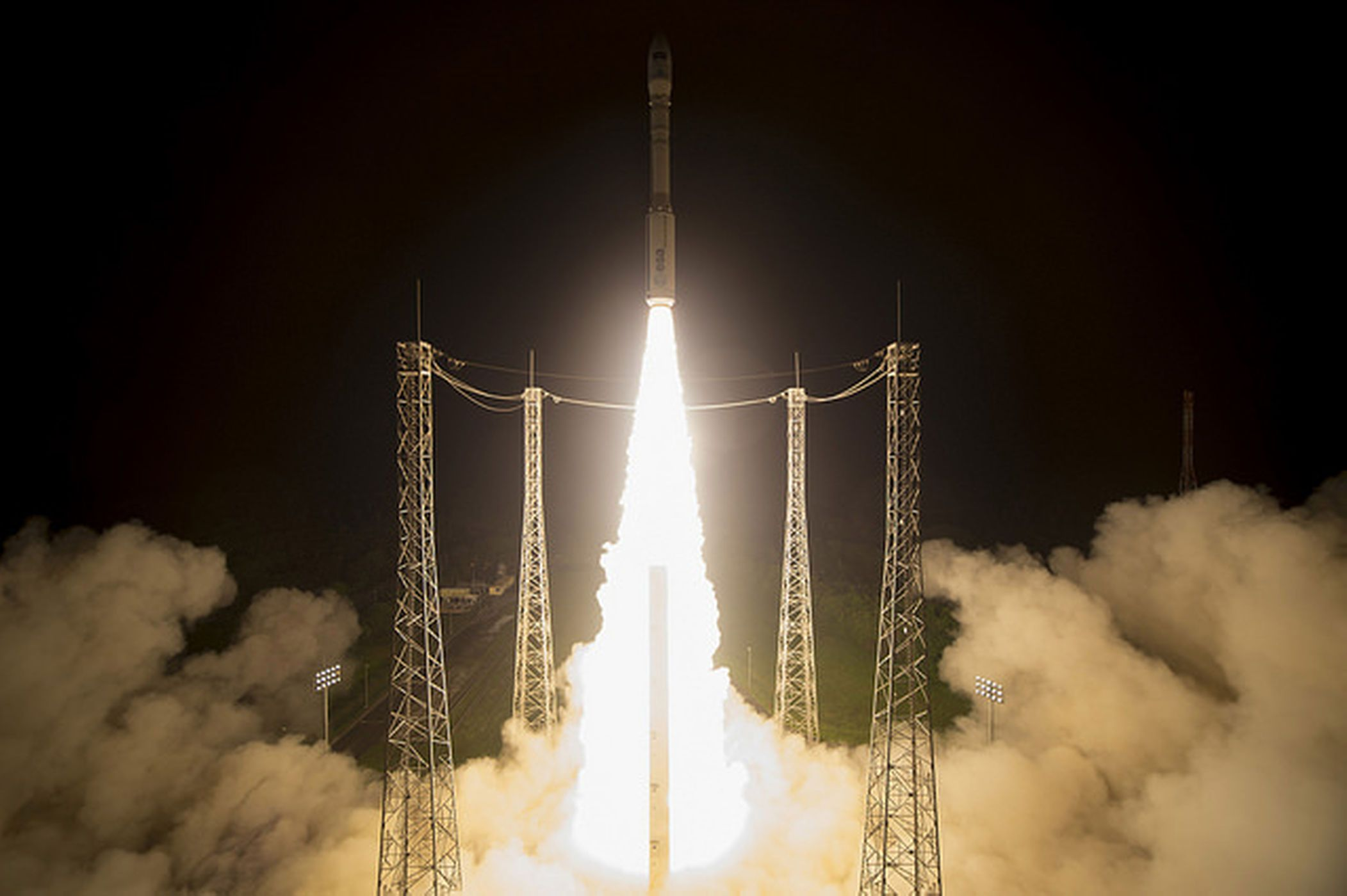 A Vega rocket carrying the European Space Agency's Sentinel-2B satellite blasted off from Korou, French Guiana yesterday at 8:49 p.m. EST (10:49 p.m. local time) in a gorgeous nighttime launch.