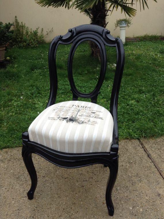 chaise ancienne paris noire beige shabby chic meubles pinterest chaise ancienne shabby. Black Bedroom Furniture Sets. Home Design Ideas