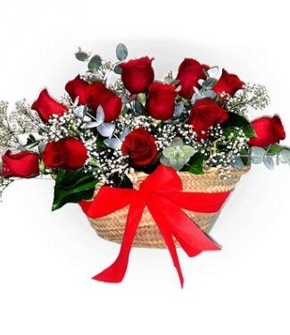 Capazo De Rosas Rojas Rosas Flores Arreglos Florales