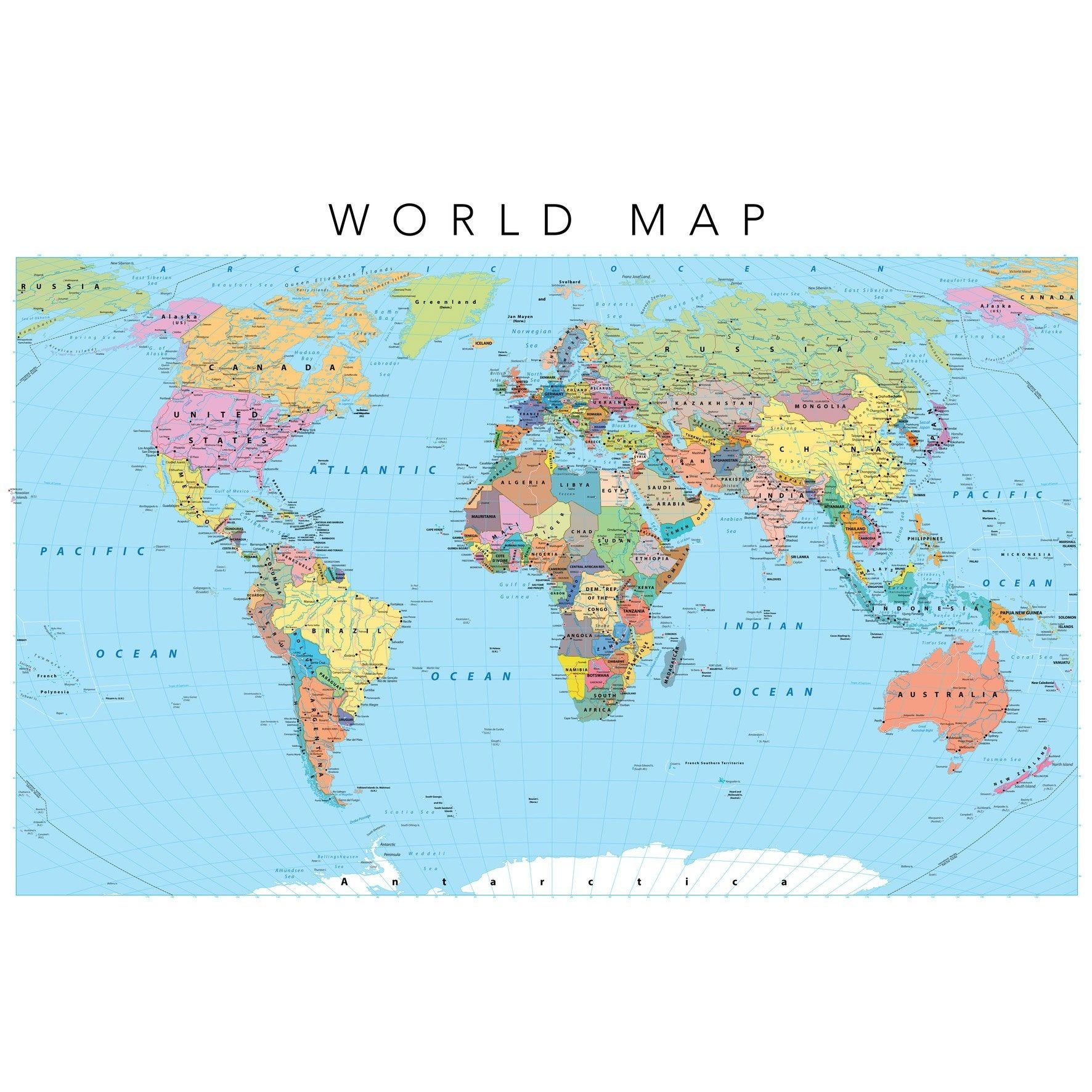 Toile Imprimee World Map 9 Multicolore Artis L 45 X H 30 Cm