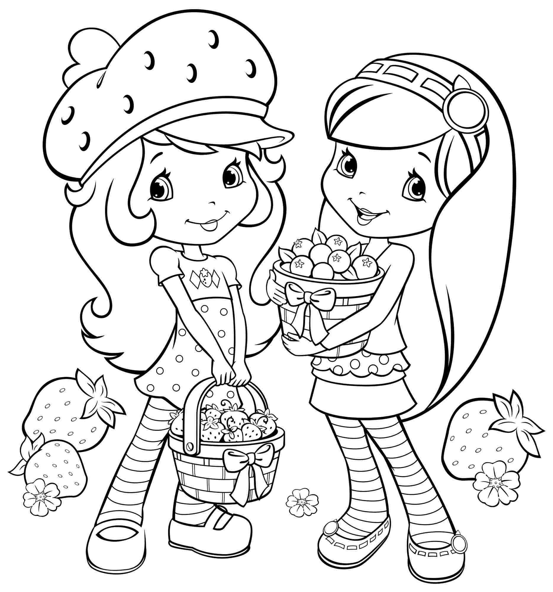 Couple Pictures Strawberry Cake Coloring Pages
