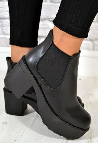 Ladies Chunky Heel Biker Style Chelsea Ankle Boots in BLACK from NaomiShu 8a89f55bf0