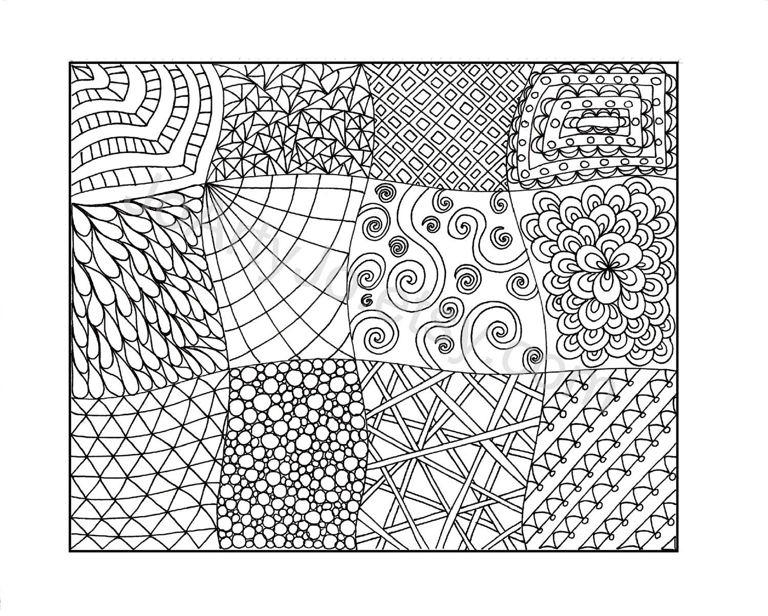 Zendoodle Coloring Page Printable PDF Zentangle Inspired Page