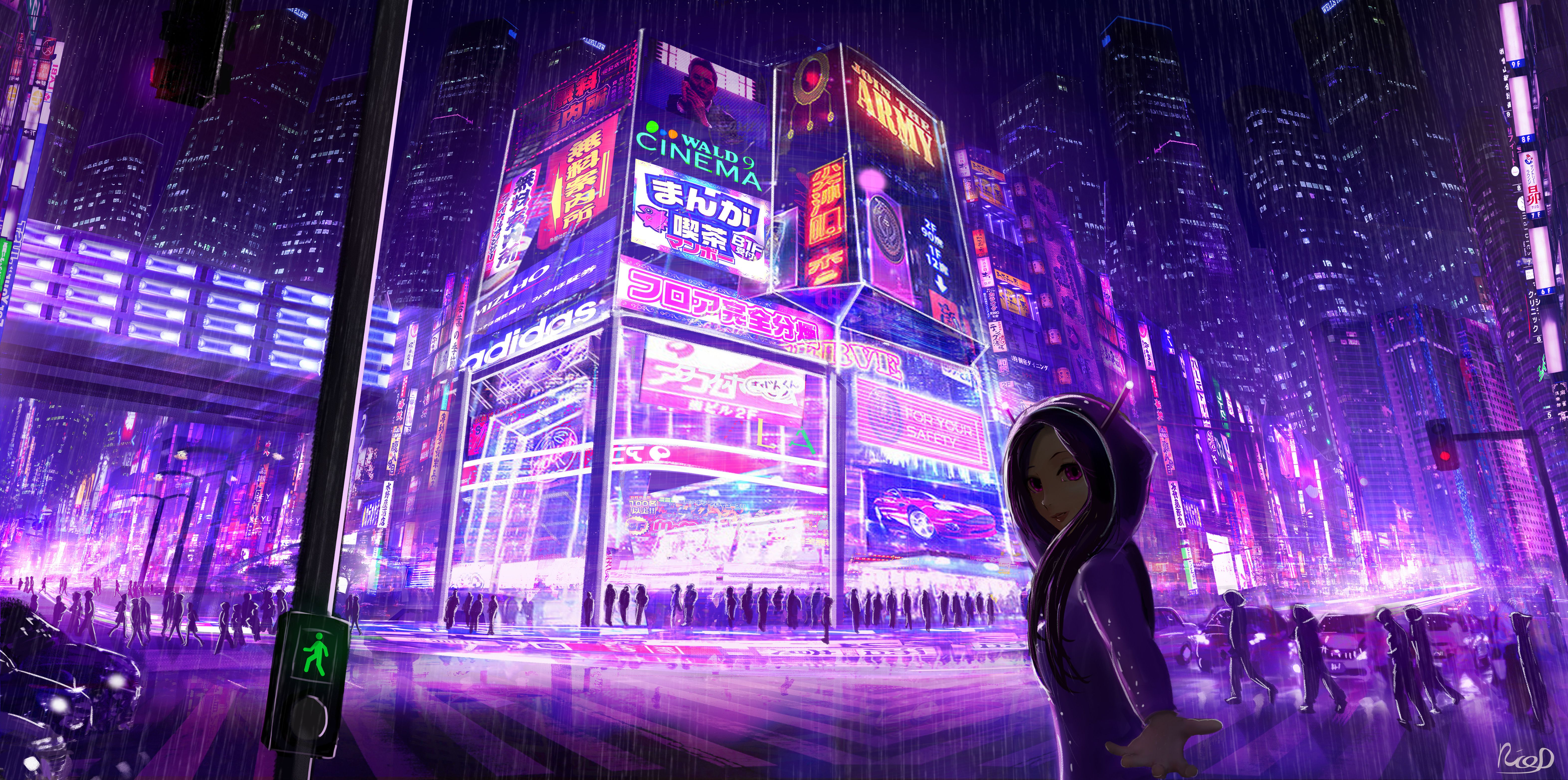 Cyberpunk Cityscape Girl Digital Art Cyberpunk city