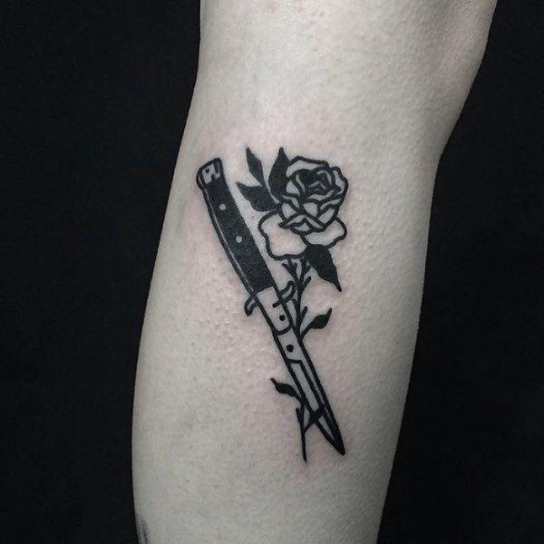 Reece Saville Rose Knife Tattoo Tattoos Knife Tattoo