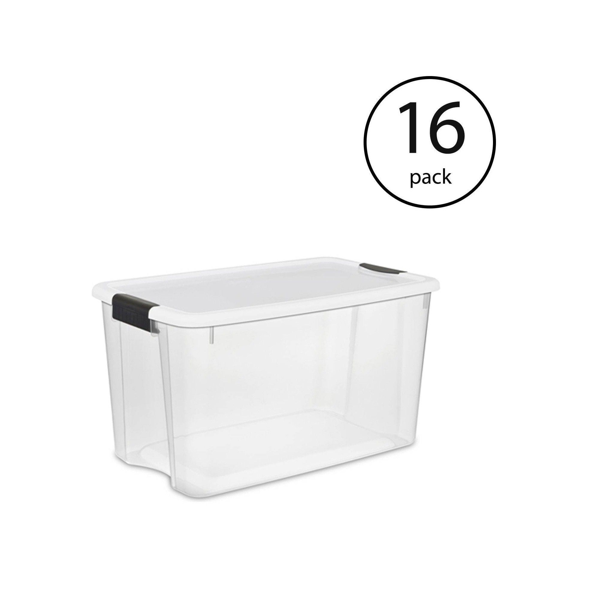 Sterilite 116 Quart Ultra Latching Storage Tote Box Container Clear 16 Pack Storing Blankets Storage Tubs Plastic Storage