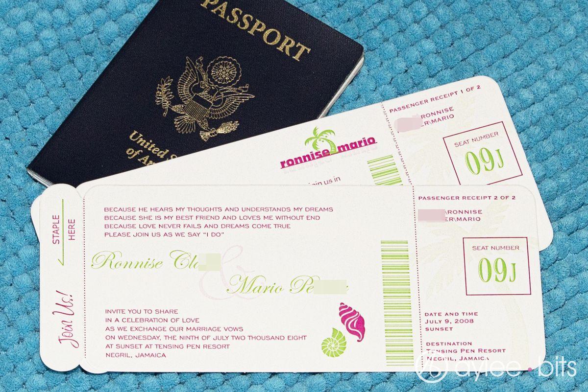 Diy boarding pass invitation save the date boarding