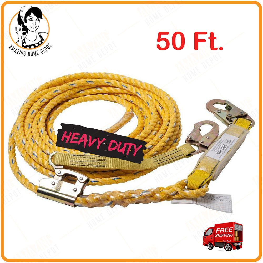 50 Ft. Vertical Life Line Rope Shock Absorbing Climbing