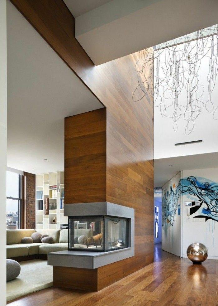 dekoration modern kamin holz - Wohnzimmer Modern Luxus