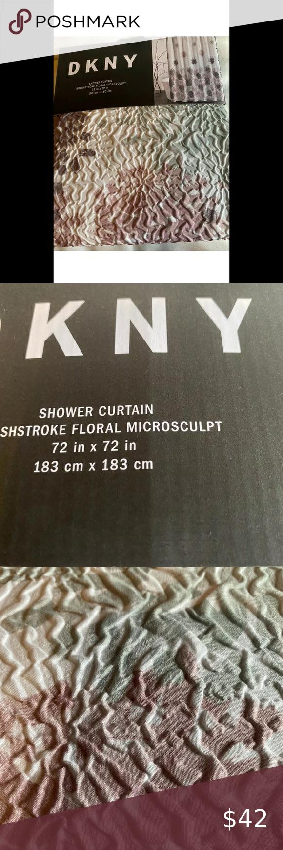 """183 x 183 cm DKNY Microsculpt Shower Curtain 72/"""" x 72/"""" New"""