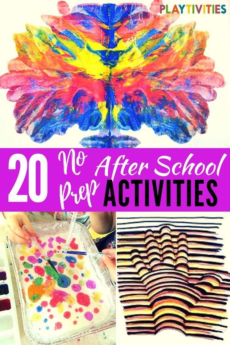 20 After School Activities That Require Minimal Set Up Playtivities School Age Activities School Age Crafts School Activities