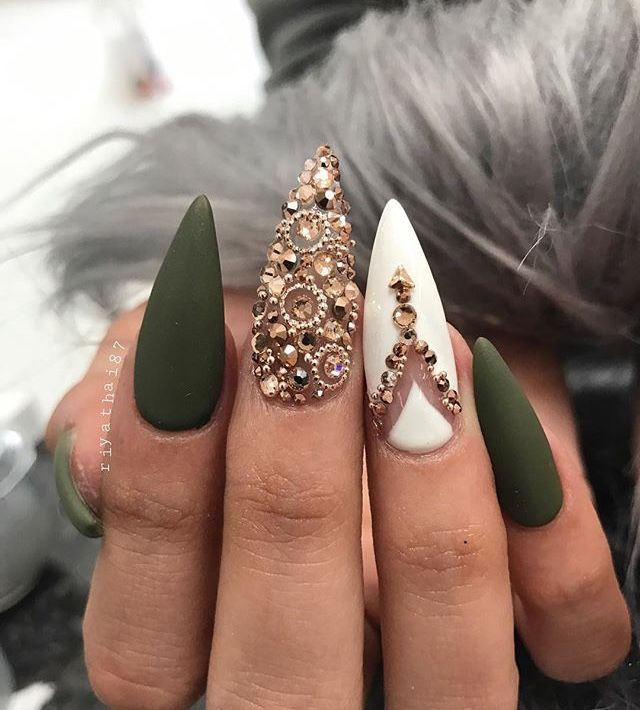 Olive Green White And Gold Nails Fall Acrylic Nails Golden Nails Stiletto Nail Art